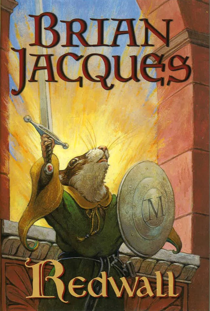"image of Brian Jacques' book cover ""Redwall"" with an illustrated image of a mouse wielding a sword and shield"