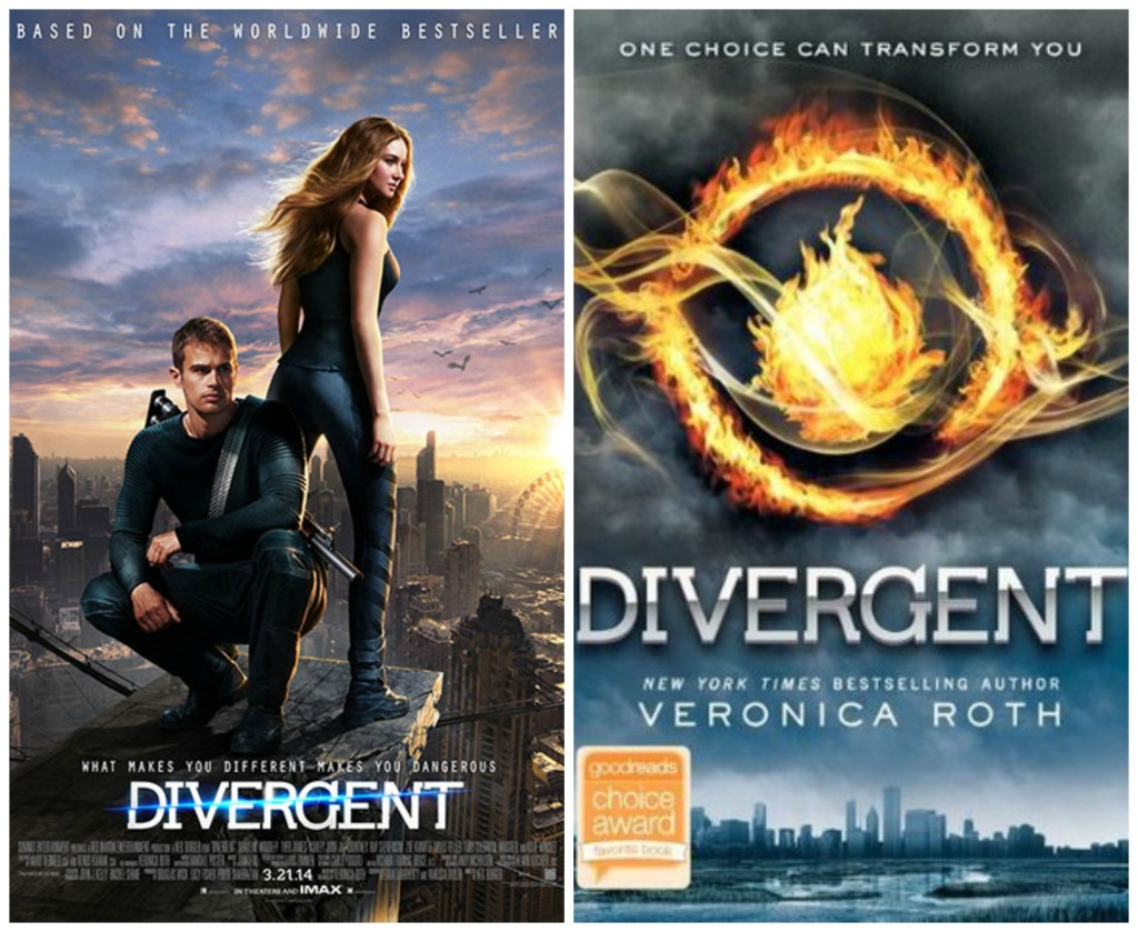 image of divergent movie poster next to an image of the divergent book cover by veronica roth