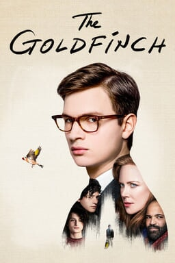 image of the goldfinch movie poster with ansel elgort finn wolfhard nicole kidman on the poster